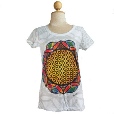 Damen T-Shirt Flower of Life White