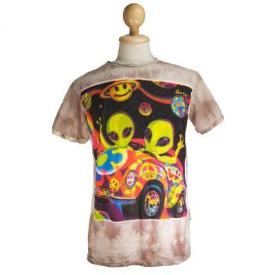T-shirt Hippie Aliens Brown