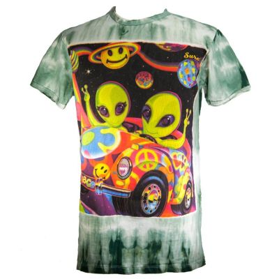 T-shirt Hippie Aliens Green