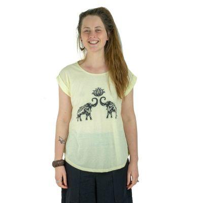 T-shirt Darika Spiritual Elephants Yellowish
