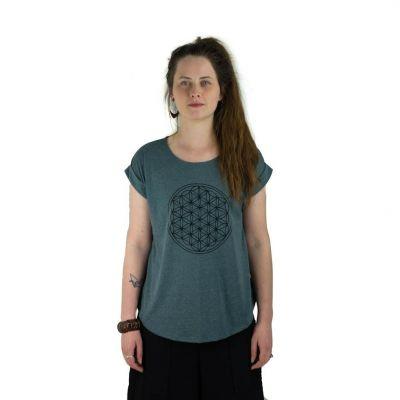 T-shirt Darika Flower of Life Dark Green