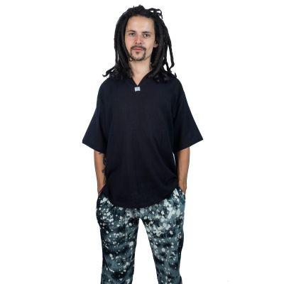 Kurta Lamon Black - Herrenhemd mit kurzen Ärmeln   M, L, XL, XXL, XXXL