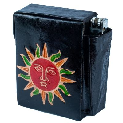 Zigarettenetui Sonne - schwartz