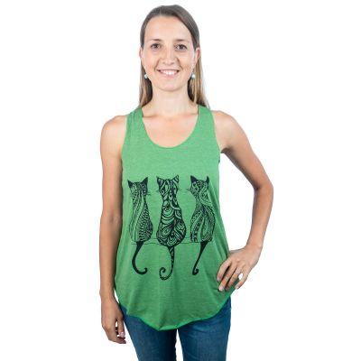 Damen Tank Top Darika Cats Green | UNISIZE (entspricht S/M)