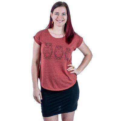 T-Shirt Darika Owl Family Burgundy