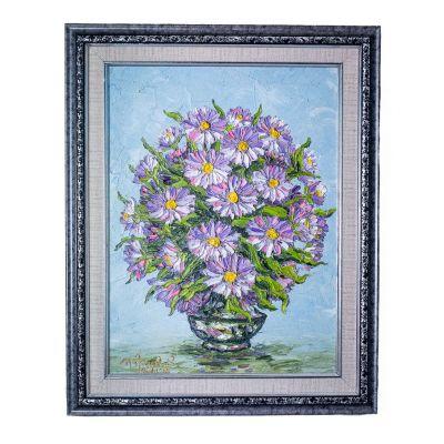 Gemälde Vase mit lila Blumen