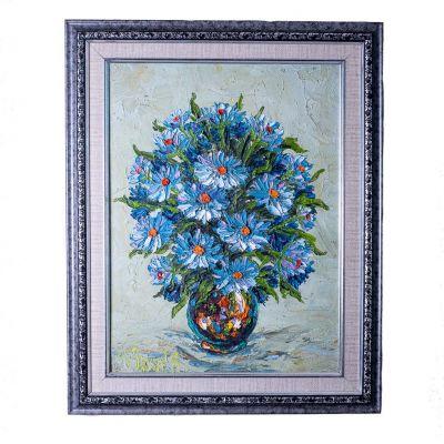 Gemälde Vase mit blauen Blumen
