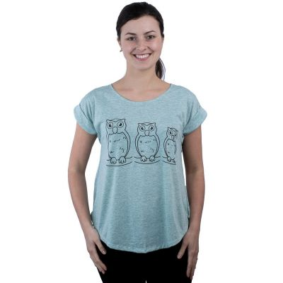T-Shirt Darika Owl Family Greenish