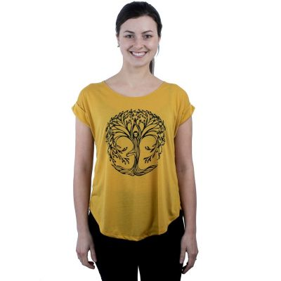 T-Shirt Darika Yoga Tree Yellow