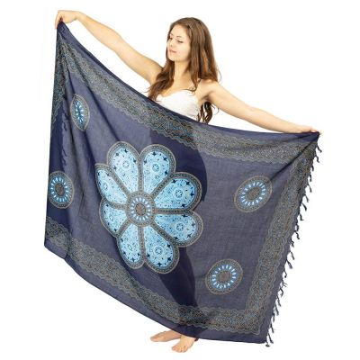 Sarong Blumenmandala blau