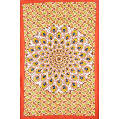 Überdecke Pfauenmandala – rot-orange