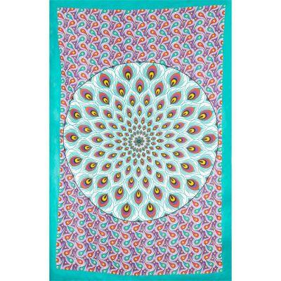 Überdecke Pfauenmandala – grün-lila