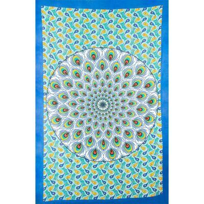 Überdecke Pfauenmandala – grün-blau