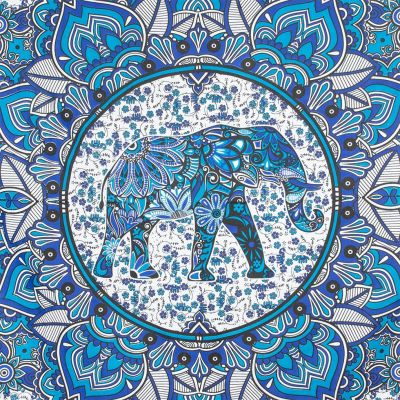 Überdecke aus Baumwolle Elefantenmandala – blau