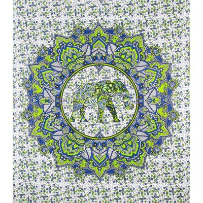 Überdecke Elefantenmandala – grün-blau