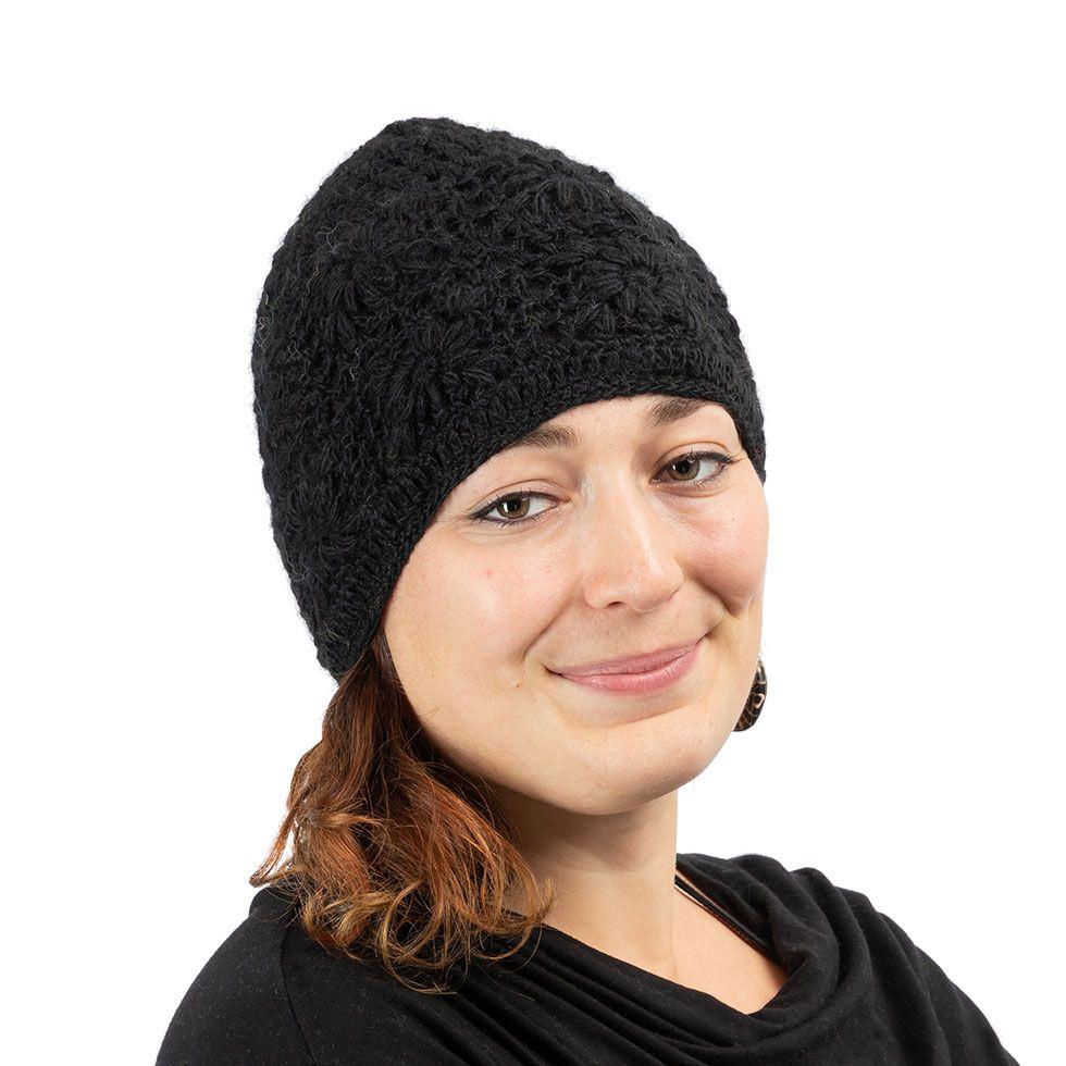 Gehäkelte Woll-Mütze Bardia Black Nepal