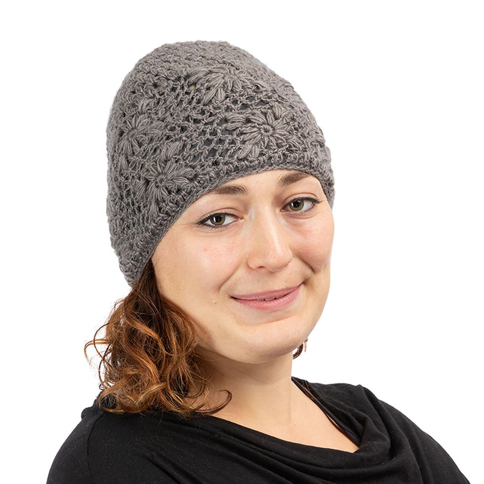 Gehäkelte Woll-Mütze Bardia Light Grey Nepal