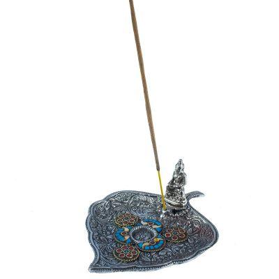 Weihrauchhalter Blatt mit Buddha und Mosaik 1