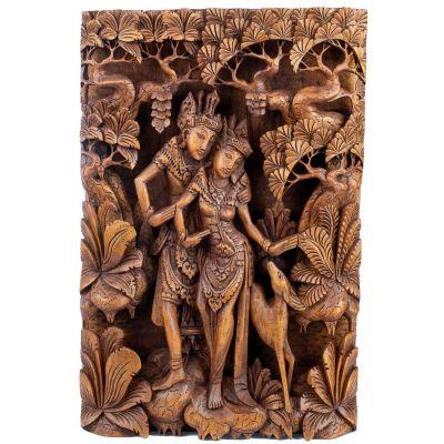 Holzschnitzerei Rama, Sita und der goldene Hirsch