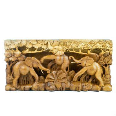 Holzschnitzerei Drei glückliche Elefanten
