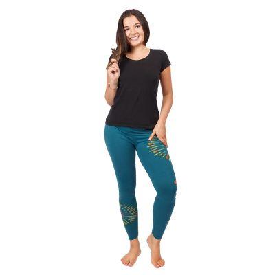 Batik-Leggings mit Schlitzen Katuru Petrol Blue   S/M, L/XL