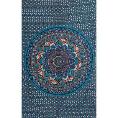 Überdecke aus Baumwolle Lotus-Mandala – blau