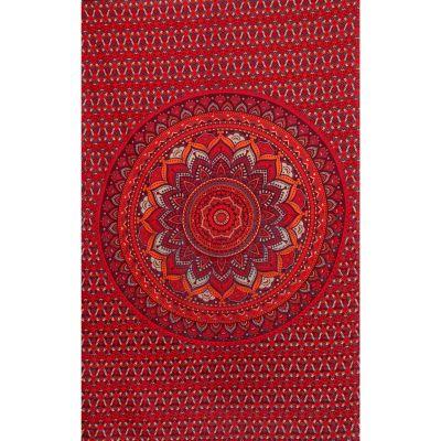 Überdecke aus Baumwolle Lotus-Mandala – rot-lila