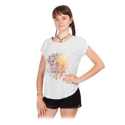 Damen T-Shirt mit kurzen Ärmeln Darika Mandala Greyish   UNI