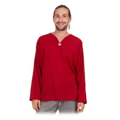Kurta Abiral Burgundy - Herrenhemd mit langen Ärmeln   M, L, XL, XXL