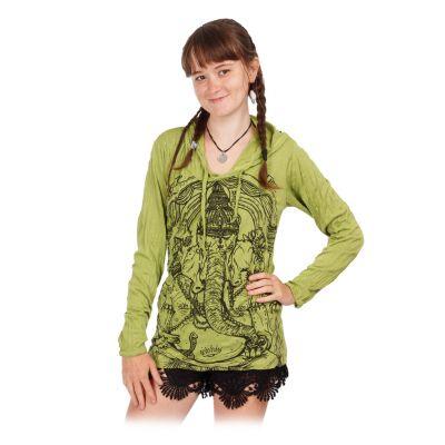Damen Kapuzen-T-Shirt Sure Angry Ganesh Green   S, M, L, XL