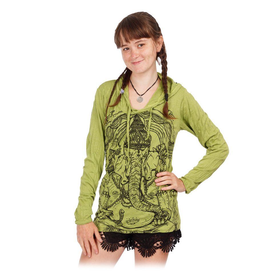 Damen Kapuzen-T-Shirt Sure Angry Ganesh Green Thailand