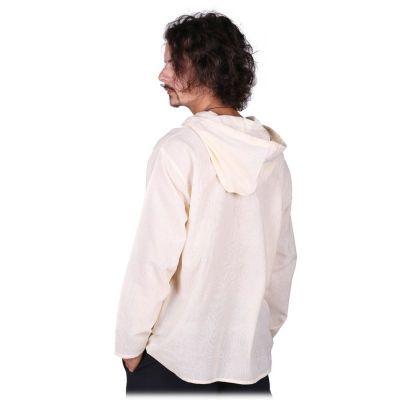 Kurta Ganet Putih - Herrenhemd mit langen Ärmeln Nepal