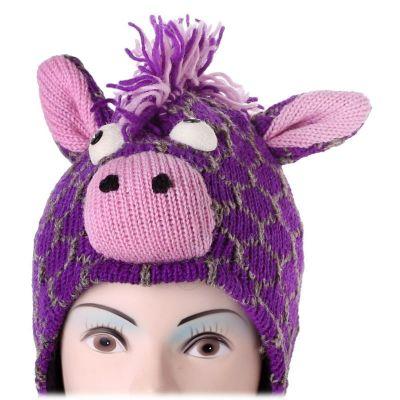 Wollmütze Purple giraffe