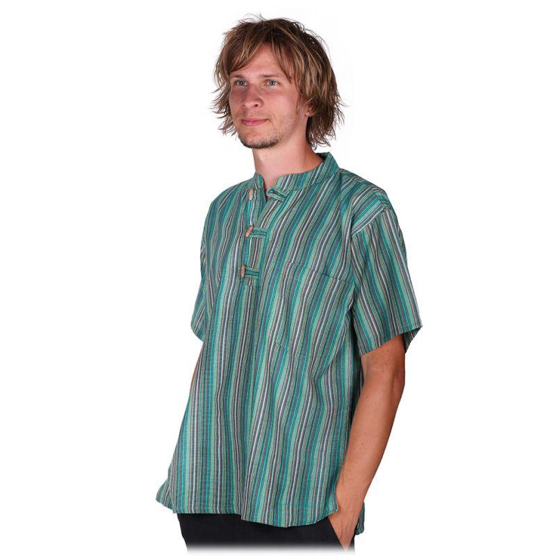 Kurta Pendek Harris - Herrenhemd mit kurzen Ärmeln Nepal