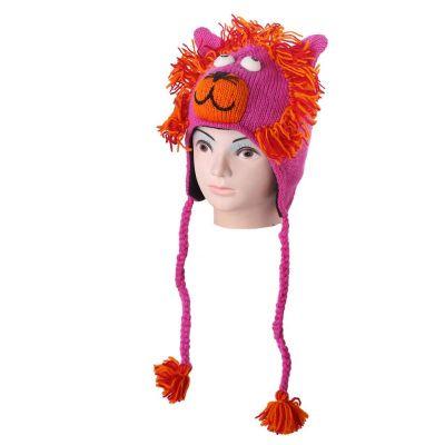 Wollmütze Pink lion
