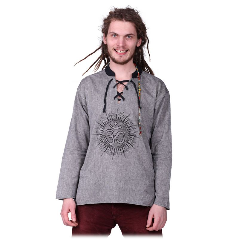 Kurta Matahari Kelabu - Herrenhemd mit langen Ärmeln Nepal