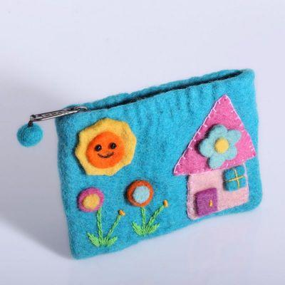 Kleine Geldbörse mit einem Hausmotiv Cyan