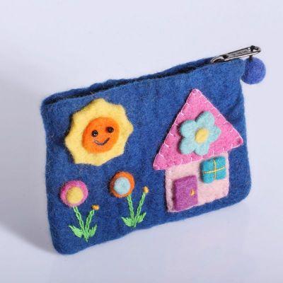 Kleine Geldbörse mit einem Hausmotiv Blau