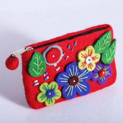 Kleine Geldbörse Blühende Wiese Rot
