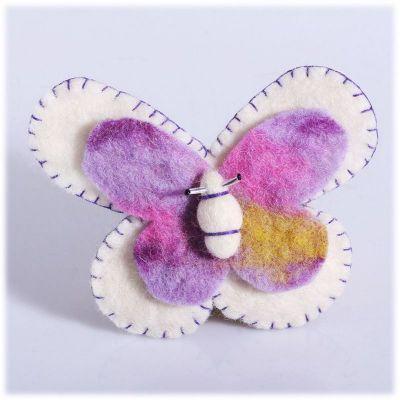 Brosche Schmetterling weiß