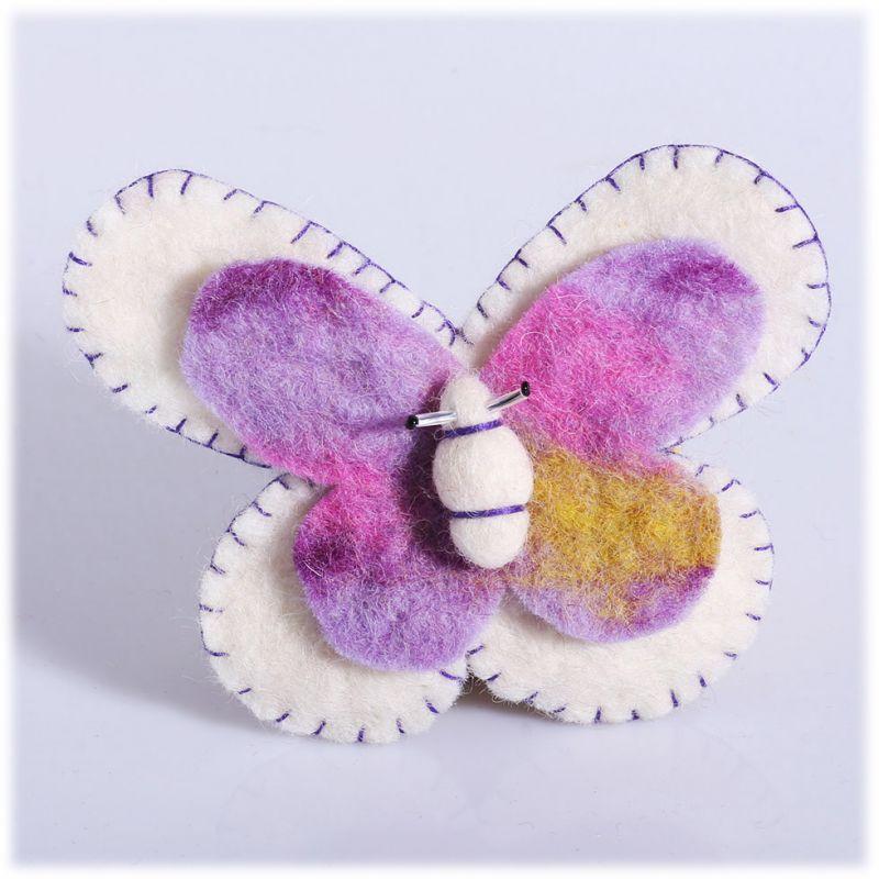Filzbrosche Schmetterling weiß