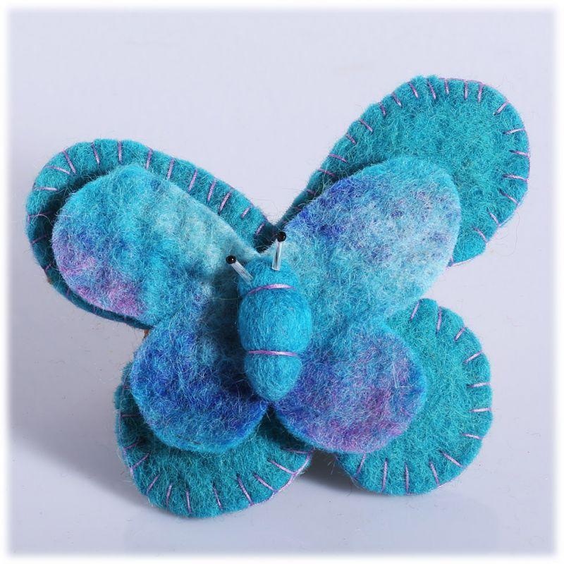 Filzbrosche Schmetterling türkis