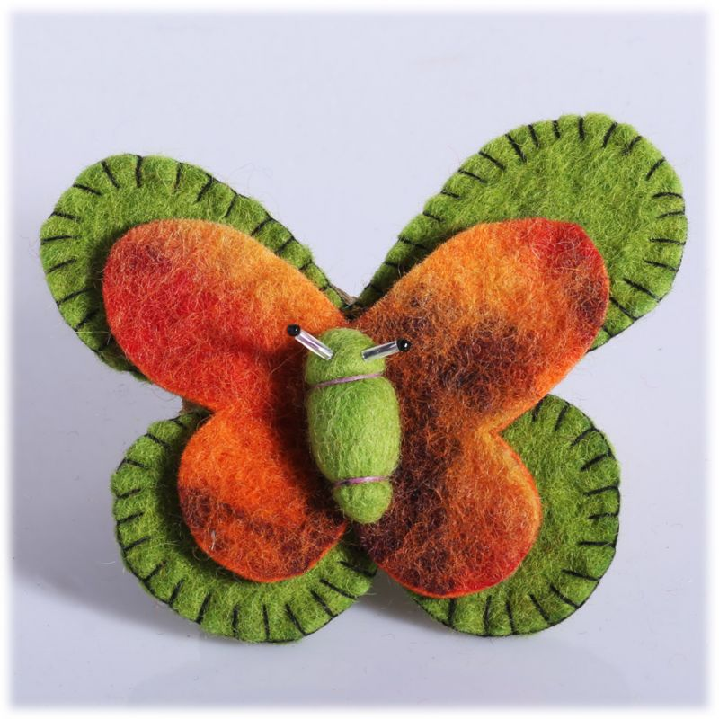 Filzbrosche Schmetterling grün-orange