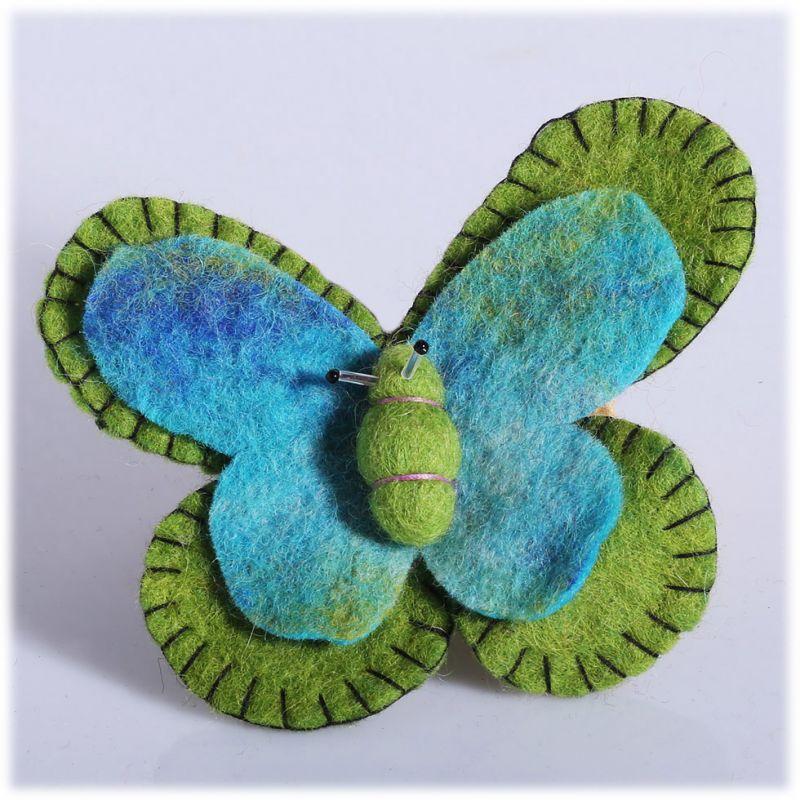 Filzbrosche Schmetterling grün-türkis