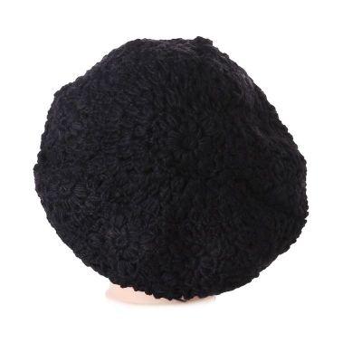 Gehäkelte Baskenmütze Laras Black