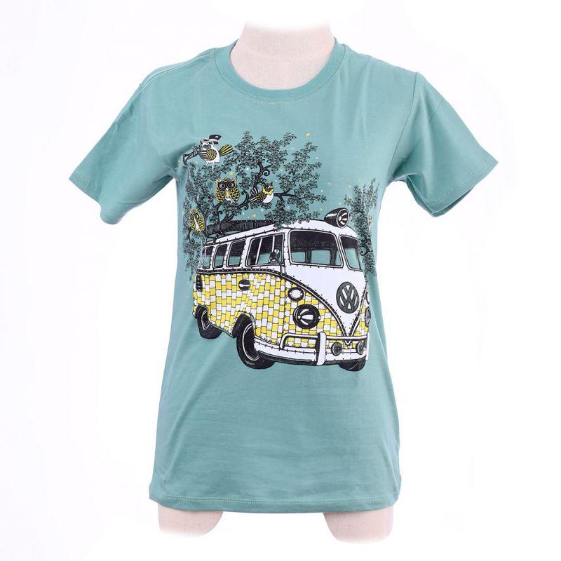 Damen T-Shirt Hippies Bus Green