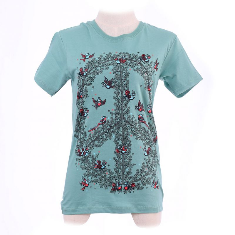 Damen T-Shirt Hippie Birds Green