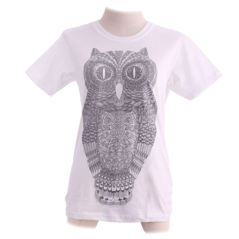 Damen T-Shirt Big Owl White