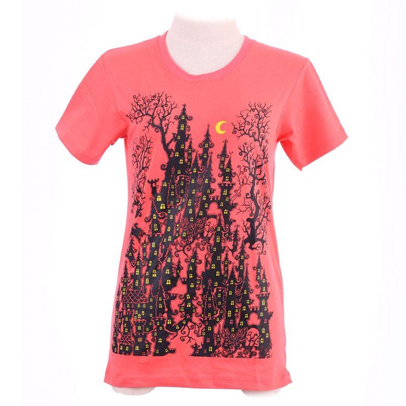 Damen T-Shirt Haunted Castle Pink