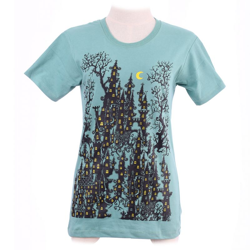 Damen T-Shirt Haunted Castle Green